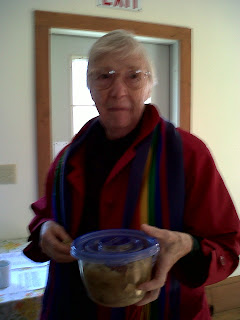 Mary Foster Cadbury heads home with her soup