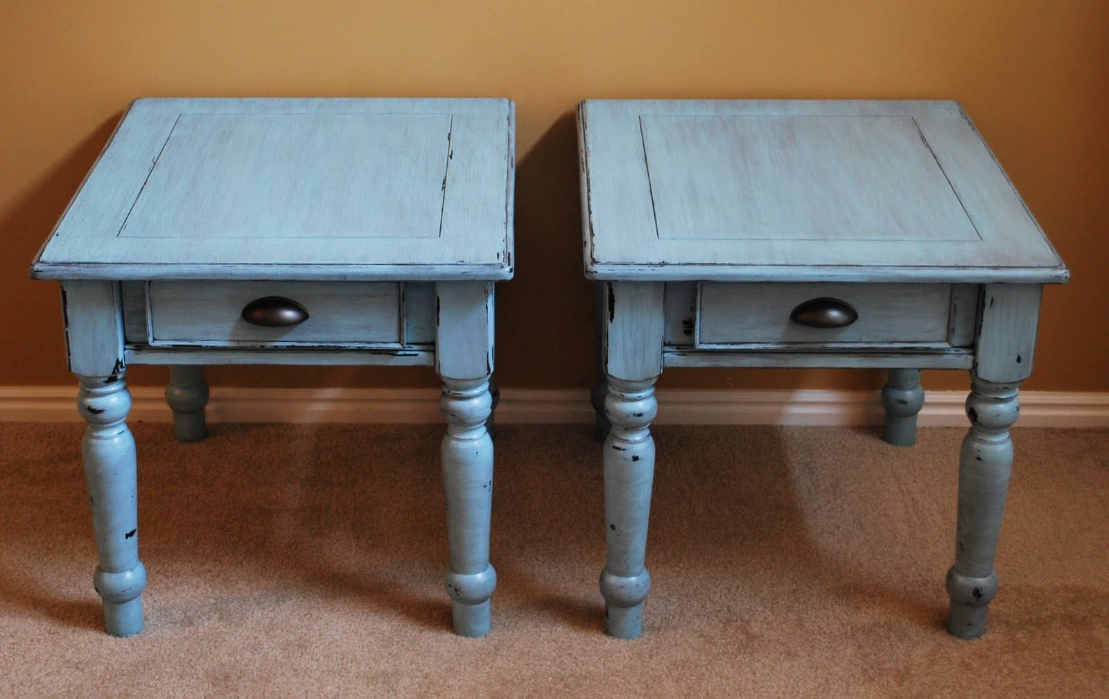 B S Refurnishings Robin Egg Blue Distressed Side Tables
