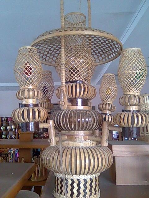 Lampu Centir Double Besar/ bamboo lamp (all bamboo)