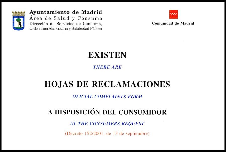 Hoja de reclamaciones for Correo comunidad de madrid