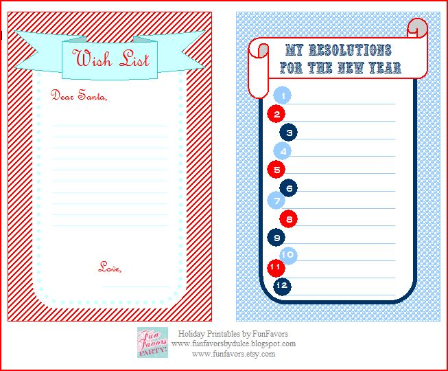 FunFavors Events Free Printable Wish List Your Resolutions for – Wish List Templates