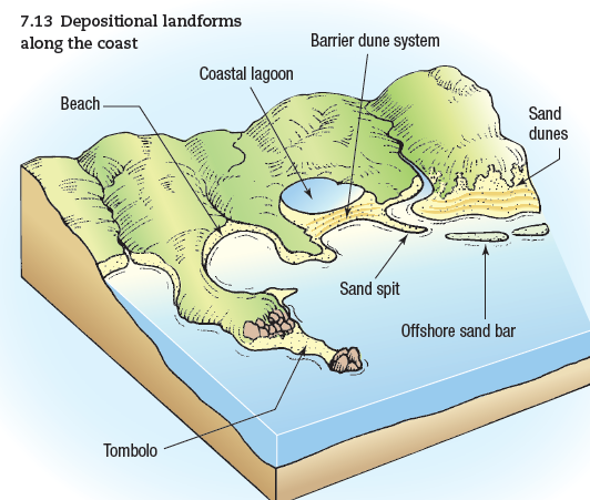 Diagram describing coastal landforms caused by deposition.