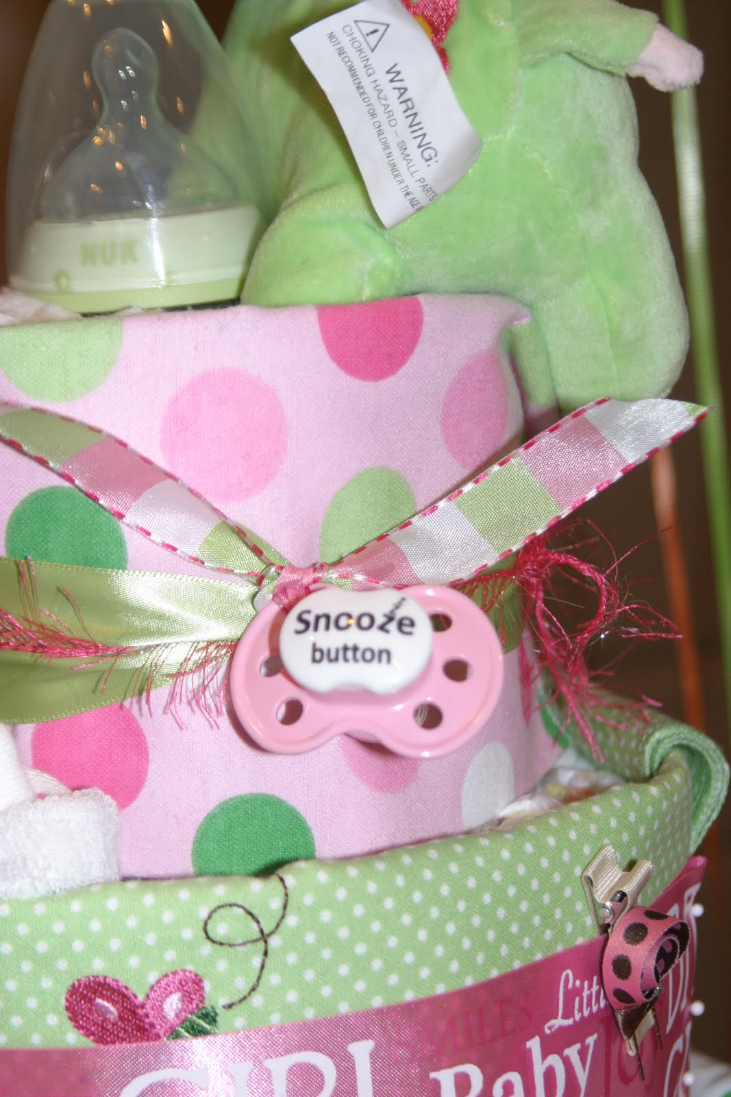 All Tiered Up: Pink and Green Girl Diaper Cake