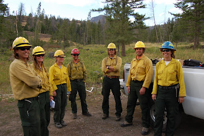 Gunbarrel firefighters pose for a picture in the Shoshone National Forest east of Yellowstone National Park