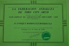 ACREDITACION OFICIAL DE SUBCAMPEON DE ANDALUCIA PARA TODO EL  2008