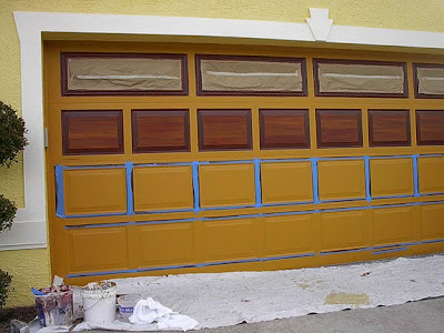 Tape off a garage door to paint everything i create for How to paint faux wood garage doors