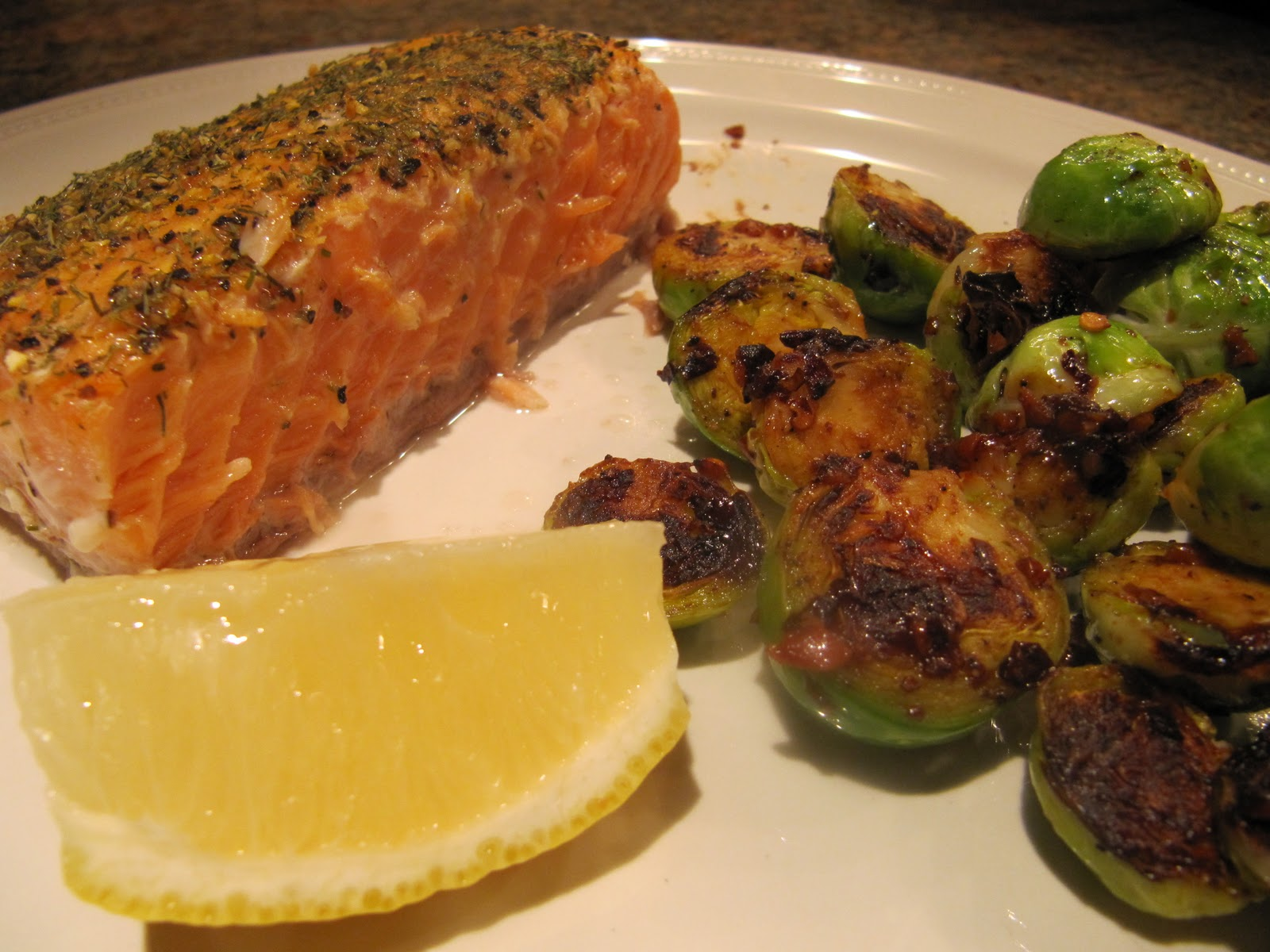 ... : Oven-Baked Salmon and Brussels Sprouts with Black Bean Garlic Sauce