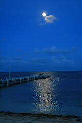 The moon over           Ambergris Caye, Belize