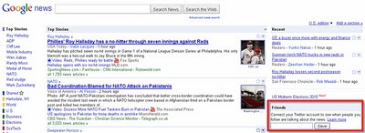 Google News Experiments with Twitter Integration