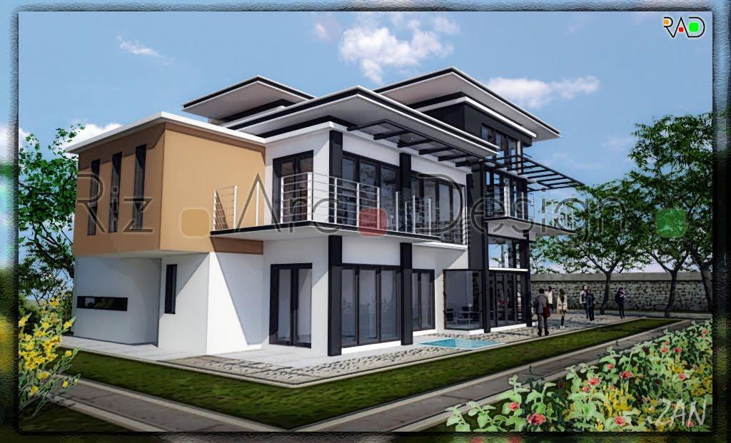 Riz arc design double storey terrace house for 3 storey terrace house design