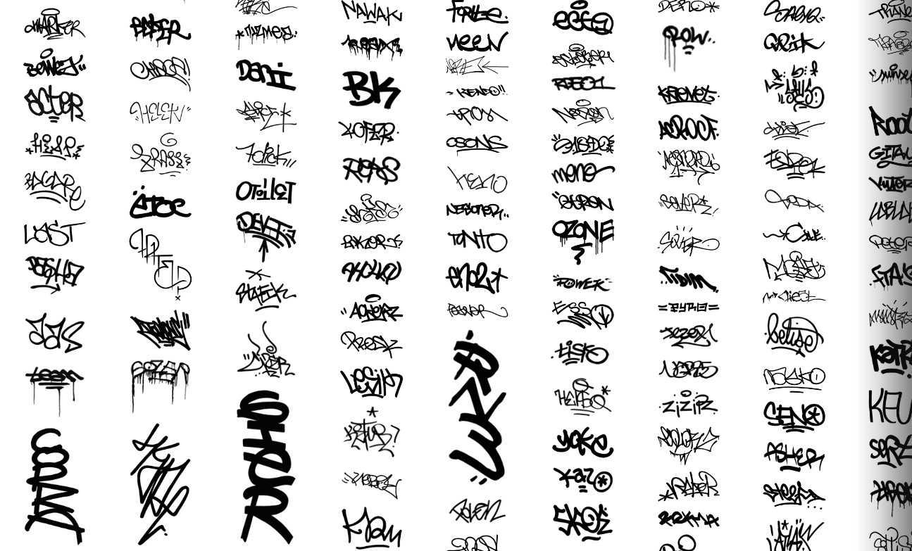 Graffiti alphabet and symbols biocorpaavc