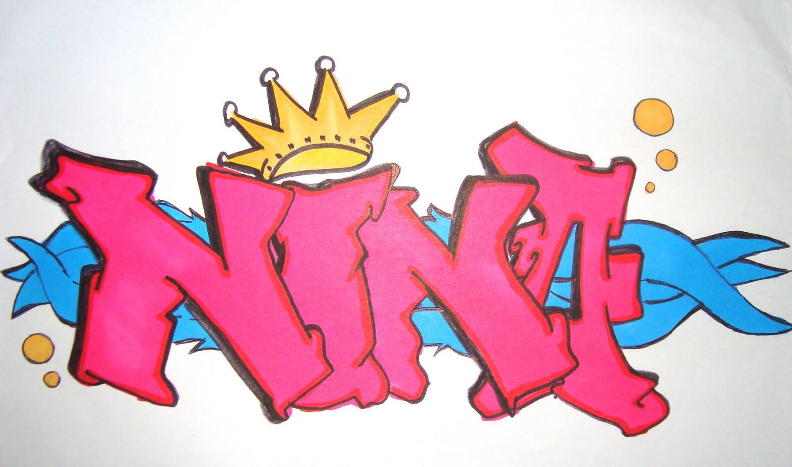 Grafiti Italy Lattes: Graffiti name >> nina graffiti name by afraaah