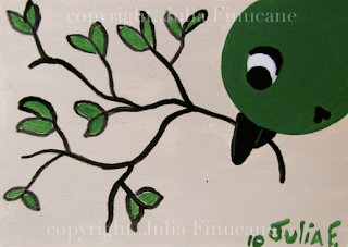 green sparrow bird aceo