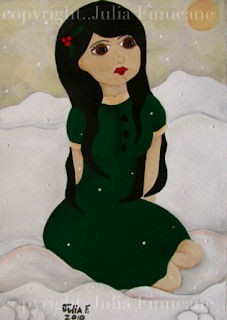 fairytale painting snowy noel by artist julia finucane