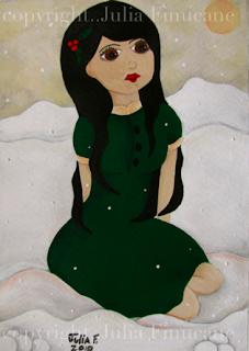 fairytale painting snowy noel by artist julia finucane