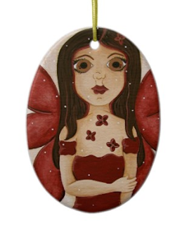 crimson red big eye fairy holiday christmas tree ornament by artist julia finucane