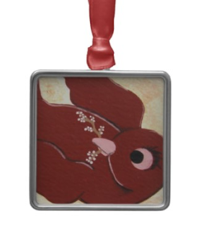 crimson red sparrow bird holiday christmas tree ornament by julia finucane