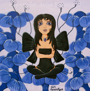 big eye purple pansy fairy painting by artist julia finucane uploaded to elfwood