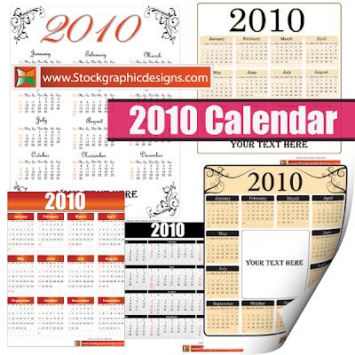 безплатен векторен календар 2010