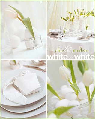 Украса за маса за Великден в бяло