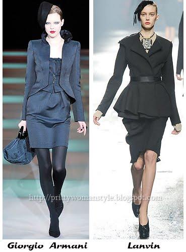 Дамски костюми - къси вталени сака и поли в прав силует