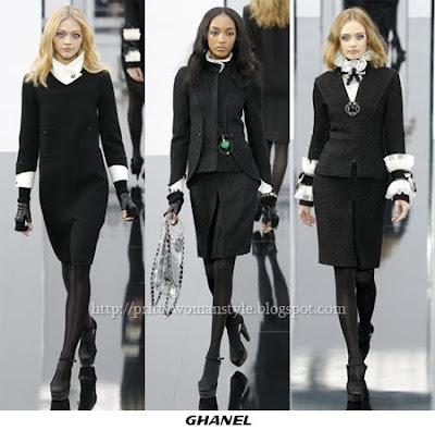 Делова мода - Chanel черни костюми с бели акценти