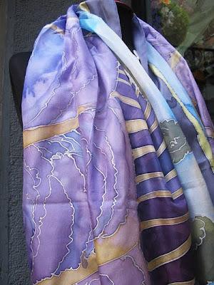 шал от рисувана коприна
