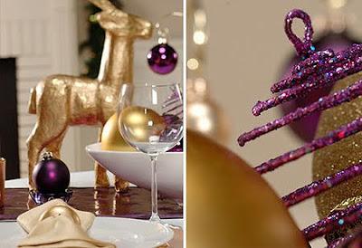 украса за маса в златно и лилаво
