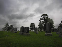 dark mournful cemetery