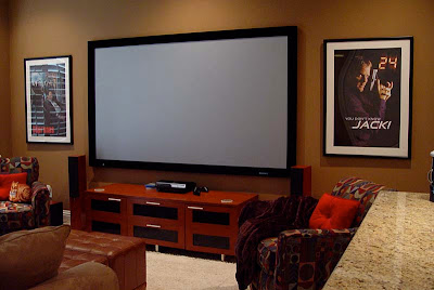 Stewart Firehawk screen in DIY Home Theater Media Room
