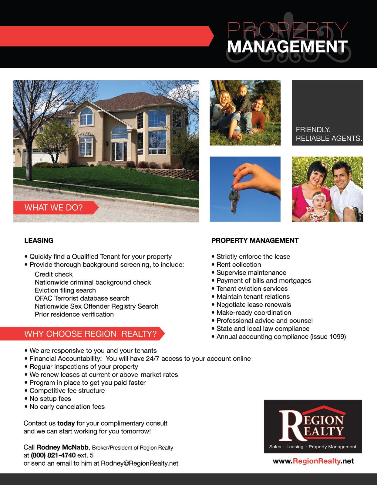 Monnerk Design Region Realty Property Management FlyerRockwall TX - Property management brochure templates