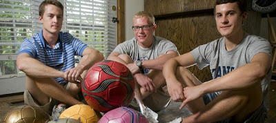 Kansas University students, from left, Landon Plumer, Wichita senior; Ray Segebrecht, Lawrence junior; and J.R. Keller, Godfrey, Ill., senior, left Sunday for a weeklong trip to Jamaica, where they will volunteer at an orphanage and work with Food for the Poor Inc. In addition to volunteering, the students plan to distribute around 30 donated soccer balls to children living at the orphanage.
