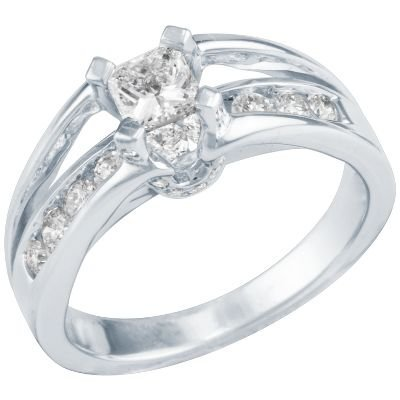 ... , 18kt White Gold 1ct TW Princess Cut  Round Diamond Engagement Ring