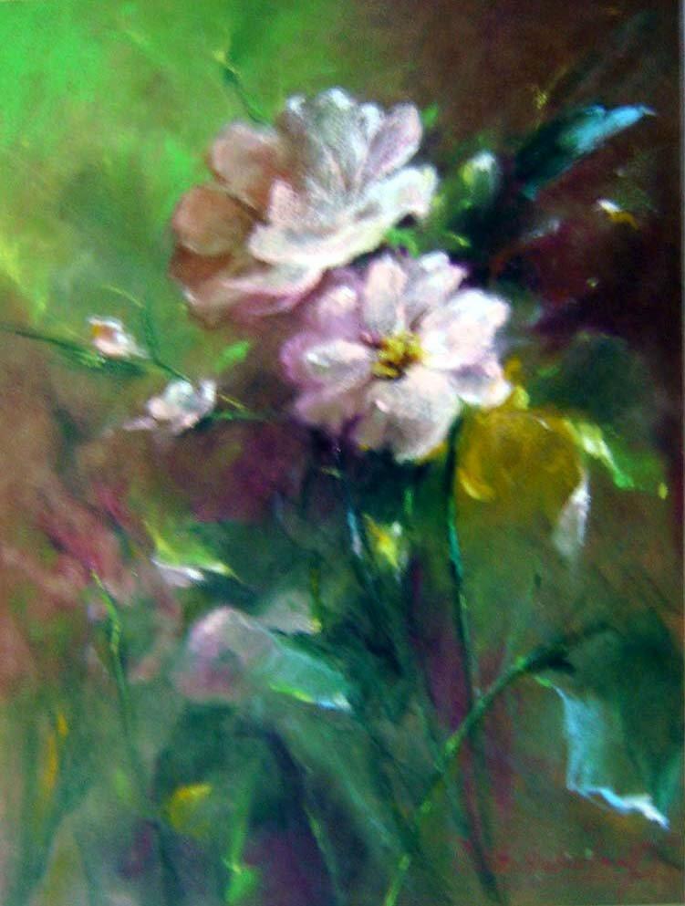 nuansa lukisan bunga opal,lukisan bunga cat minyak,lukisan bunga ...