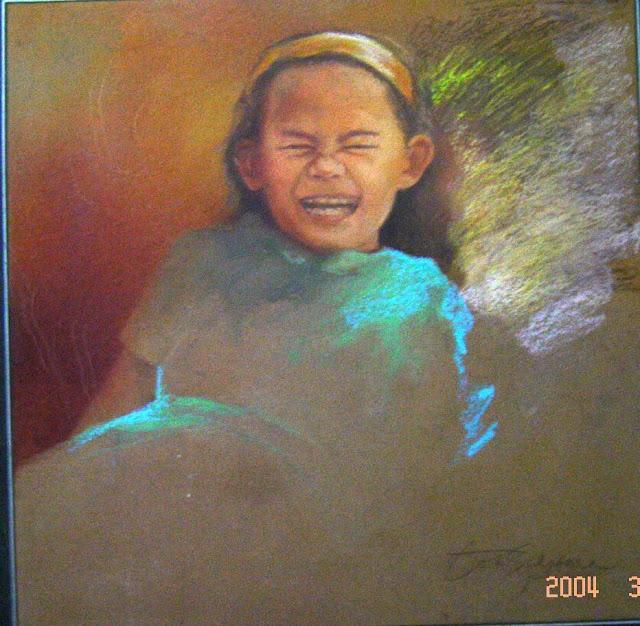 Lukisan,lukisan cat minyak,lukisan krayon,lukisan gadis,lukisan anak,lukisan anak cengeng,lukisan krayon,lukisan media mix