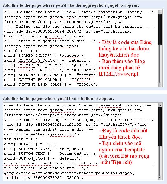 Tạo widget 'Bài khuyên đọc' với Google Friend Connect