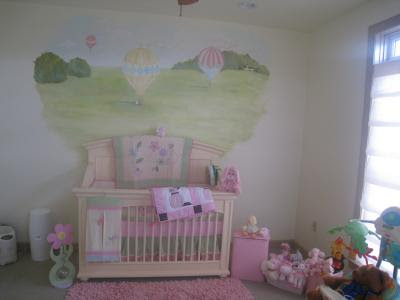 hot air balloon nursery themed murals. Black Bedroom Furniture Sets. Home Design Ideas