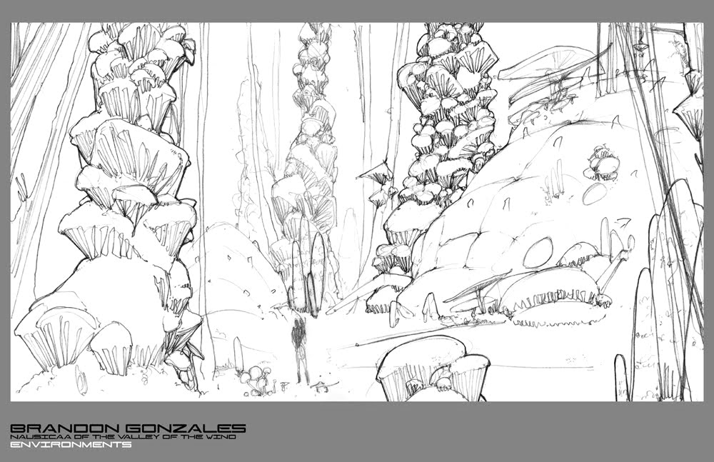01 Environment Line Drawing  - Nausicaa of the Valley of the Wind