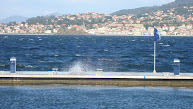 Veel wind in Baiona