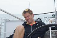 Jan héél tevreden op zijn bootje.