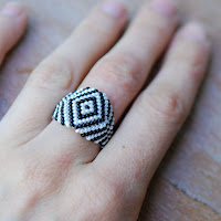 Zebra - Beaded Ring on Hand