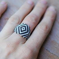 Zebra - Beaded Ring on Hand