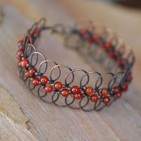 Lacy Loops Handmade Artisan Bracelet - Copper and Carnelian