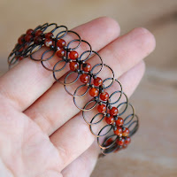 Lacy Loops Bracelet - Copper and Carnelian