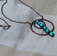 Copper Circles and Turquoise Wire Wrapped Necklace