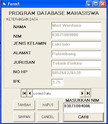 program aplikasi database mahasiswa dengan VB 6.0