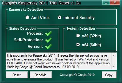 Download Gajin's Kaspersky 2011 v1 5 Trial Reset