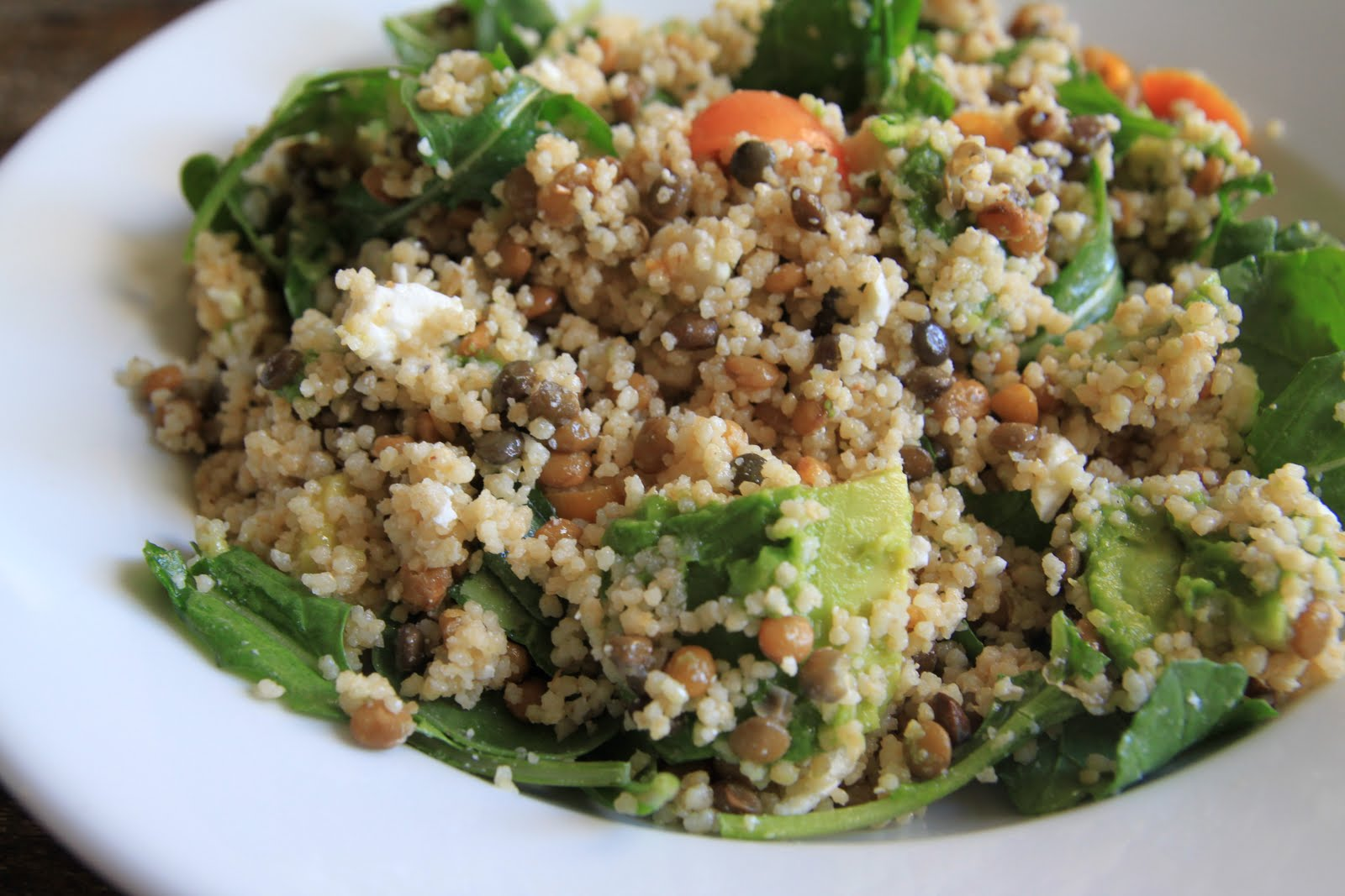 ... : Lentil Couscous Salad with Avocado, Heirloom Tomatoes and Arugula