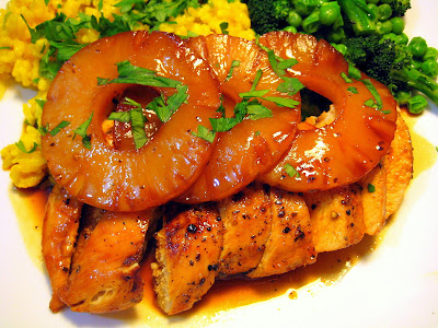 Food Tastes Yummy: ORANGE MOLASSES GLAZED CHICKEN WITH PINEAPPLE RINGS