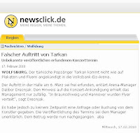 German news about a fake Tarkan concert